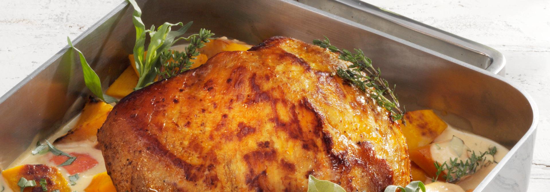 Kalbsbraten mit Kürbis in Joghurt-Estragon-Sauce | Weihenstephan